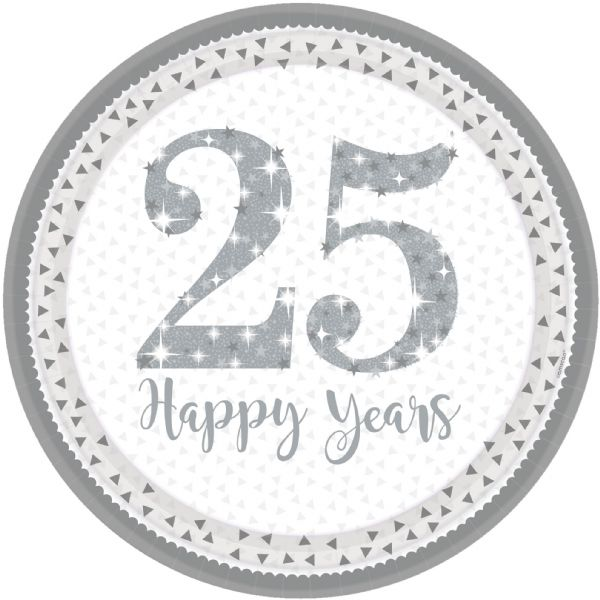 Sparkling Silver Anniversary Paper Plates